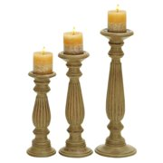 """Studio 350 Candle Stands - Wood Candle Holder Set/3 18"""", 15"""", 12""""H"""