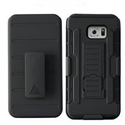 Galaxy Note 5 Case, Slim Cyber Armor Holster [Kickstand] Hybrid Dual Layer [Shock Resistant] Case for Samsung Galaxy Note 5 - Black