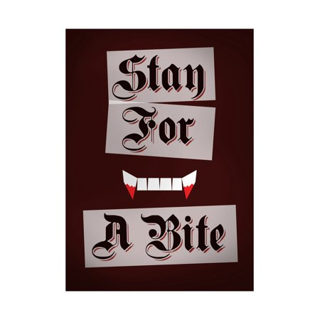 Stay For A Bite Print Bloody Teeth Vampire Picture Old Script Scary Humor Halloween Seasonal Decoration - Halloween Original Script