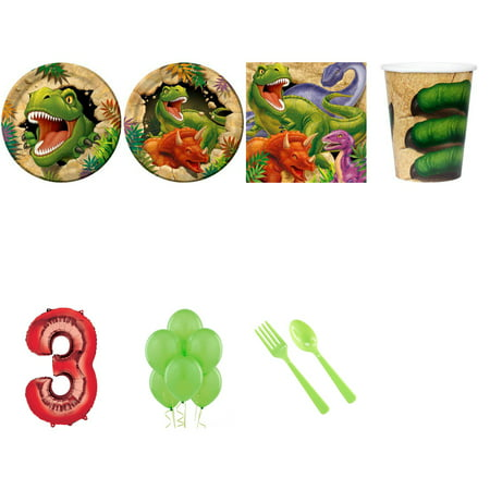 DINOSAUR ADVENTURE PARTY SUPPLIES PARTY PACK FOR 32 WITH RED #3 BALLOON (Dinosaur Birthday Party Supplies)