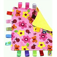 Taggies Colors & Style Lovey Blanket, Pink Flowers and Butterflies