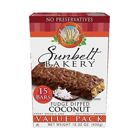 Chewy Fudge (Sunbelt Bakery Fudge Dipped Coconut Chewy Granola Bars, 1.1 oz Bars, 15 Count )