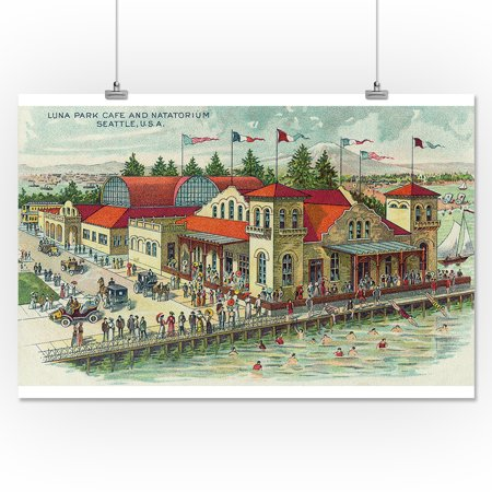 Seattle, Washington - Aerial View of Luna Park Caf? and Natatorium (16x24  Giclee Gallery Print, Wall Decor Travel Poster)