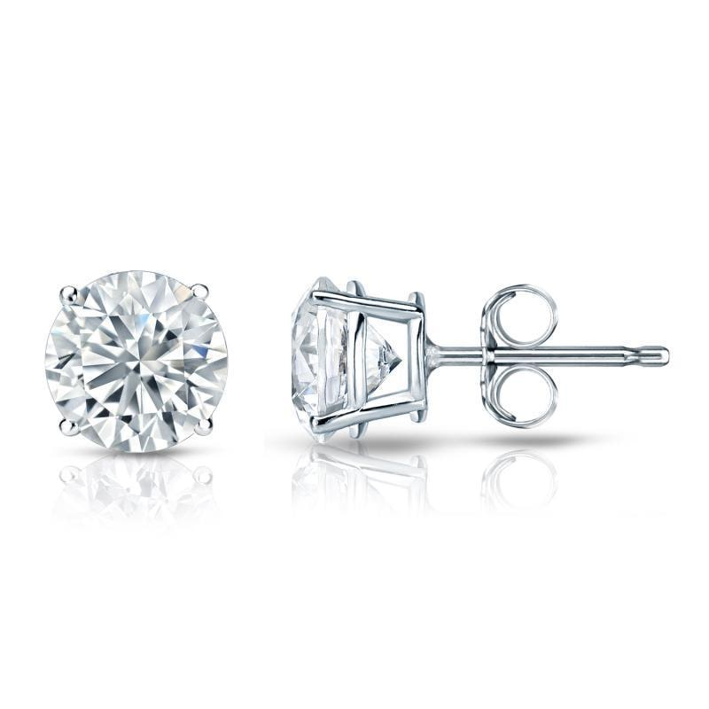 Auriya  GIA Certified 18k White Gold 4-Prong Basket 5.00 ct. TDW Push Back Round Diamo
