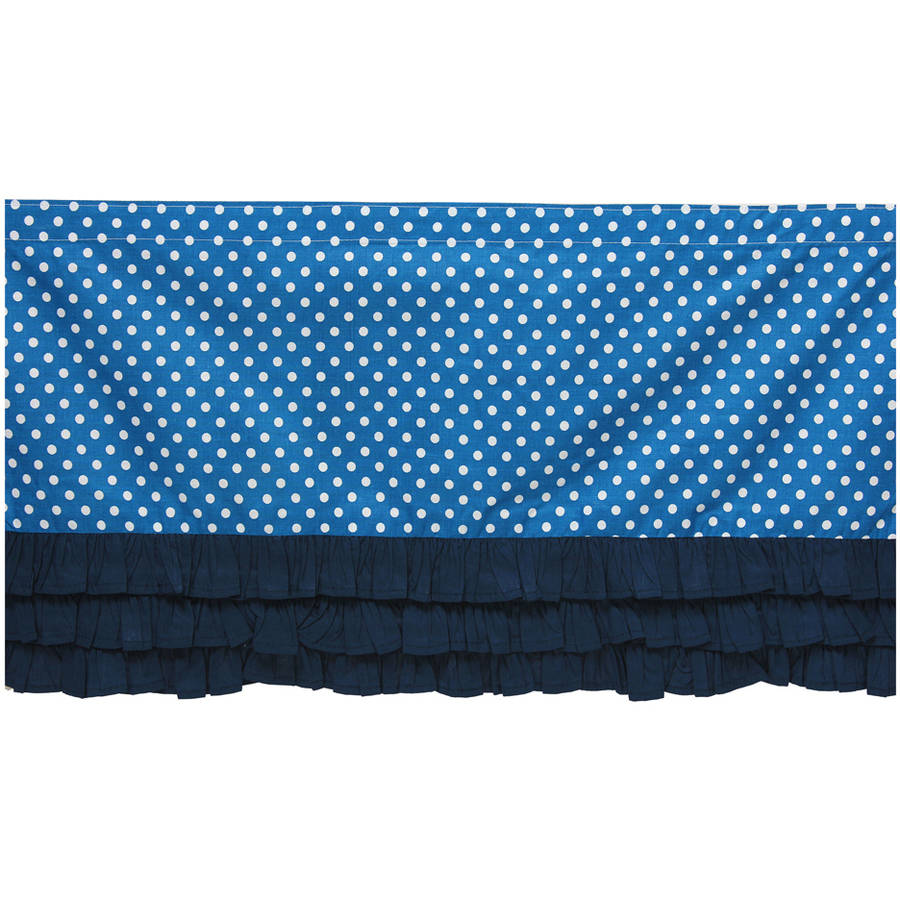 Bacati MixNMatch Blue frills on bottom with 100% Cotton Percale 13 inch drop Crib Toddler Dust Ruffle by Bacati