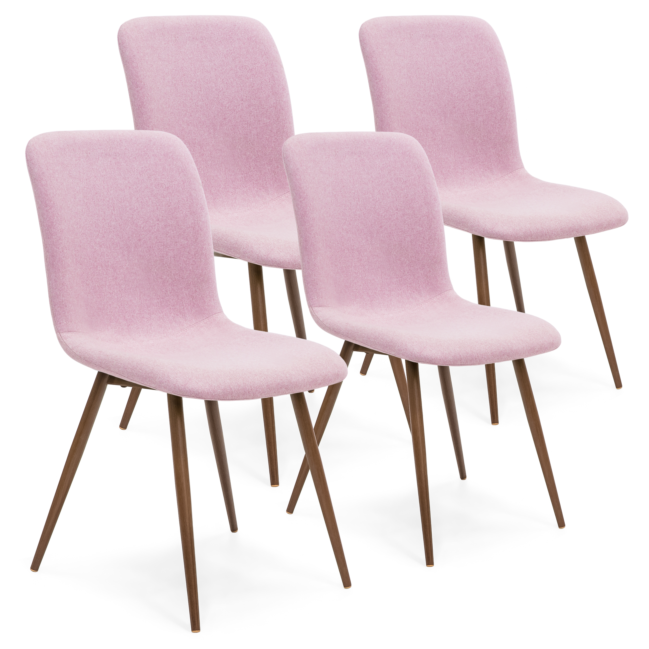 Best Choice Products Set of 4 Mid-Century Modern Dining Room Chairs w/ Fabric Upholstery and Metal Legs - Pink