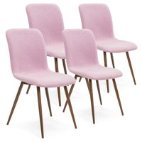 Best Choice Products Set of 4 Mid-Century Modern Dining Room Chairs w  Fabric Upholstery and Metal Legs Pink