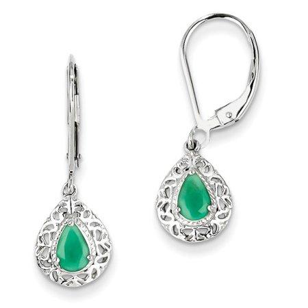 Sterling Silver Emerald Teardrop Leverback Pearl Earrings. Gem Wt- 0.66ct (1IN x 0.3IN )