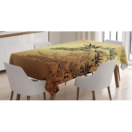 Japanese Decor Tablecloth, Asian Branches and Bamboo Motifs with Showy Leaf Nature Illustration Art, Rectangular Table Cover for Dining Room Kitchen, 60 X 90 Inches, Sepia Black, by Ambesonne