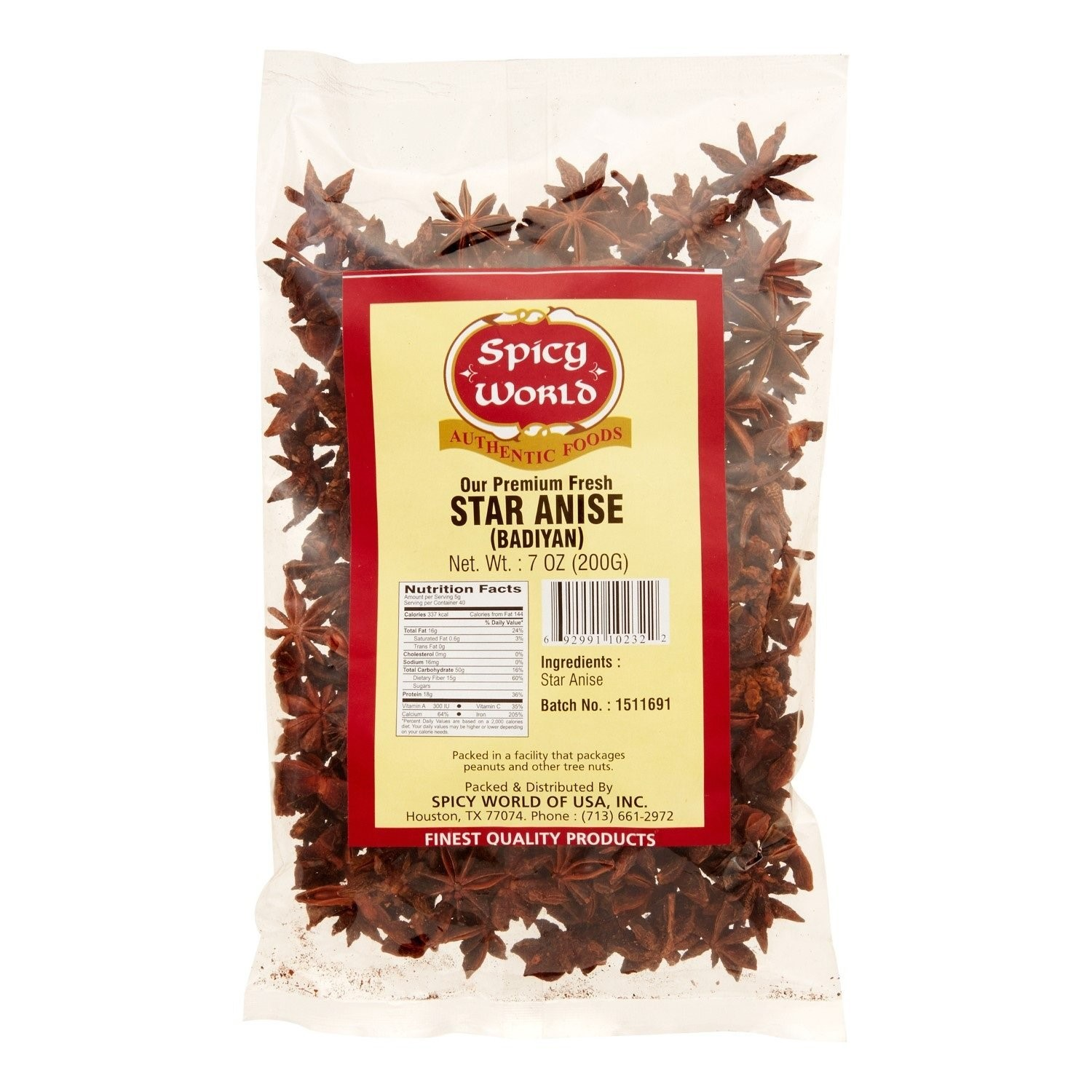 Spicy World Whole Star Anise, 7 Oz