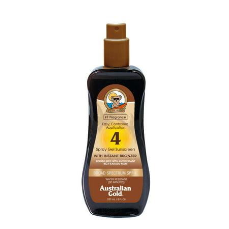 Australian Gold SPF 4 Spray Gel Sunscreen w/ Instant Bronzer, 8 FL OZ