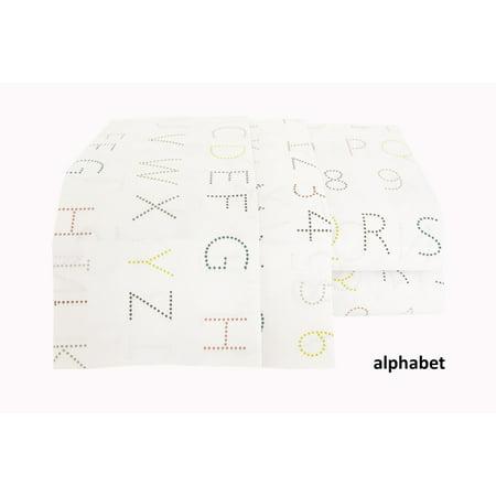 Textile City Inc Sheet Set 200 Thread Count Cotton Sheet Set   Printed  Alphabet