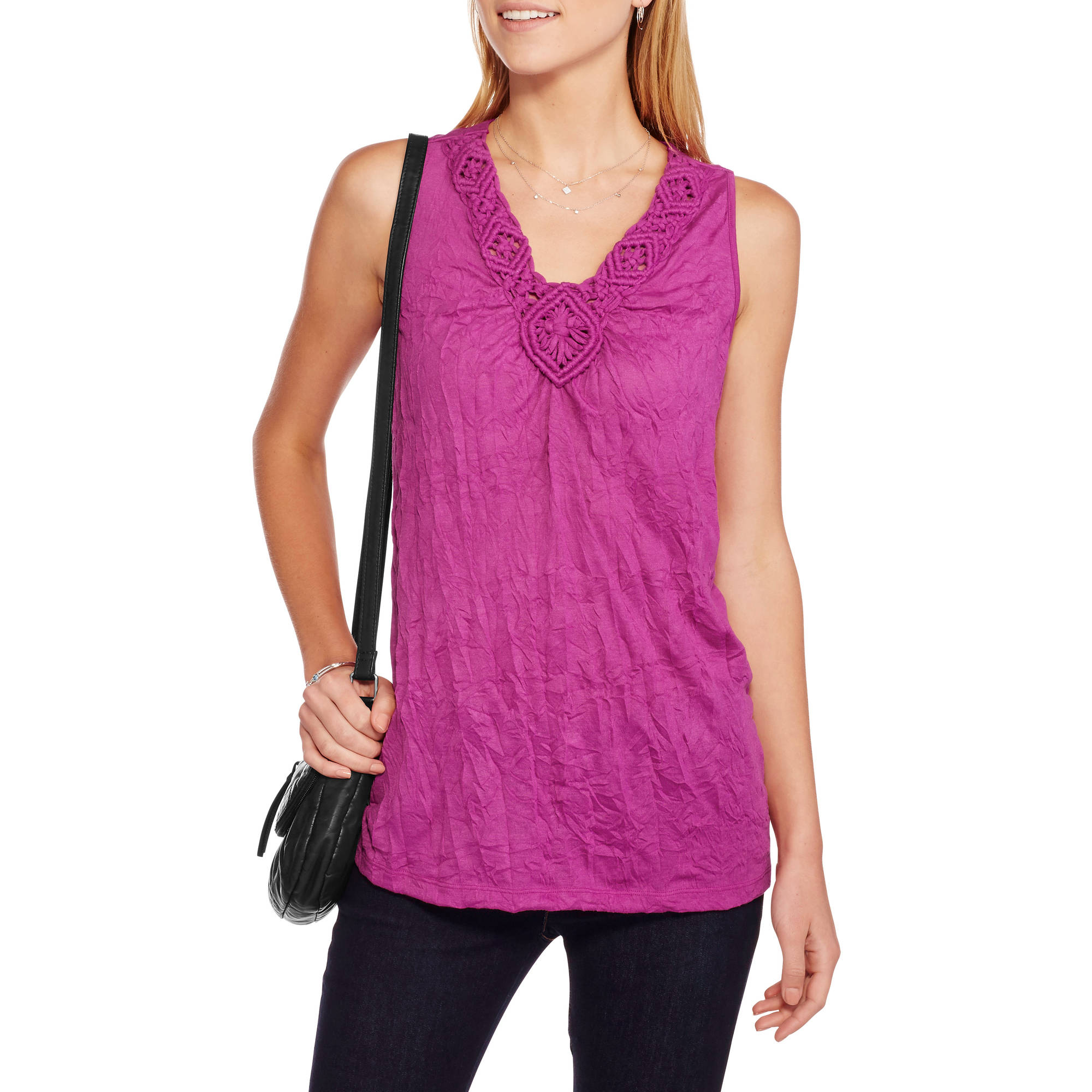 White Stag Women's Solid Crinkle V-neck Tank With Macrame Neckline