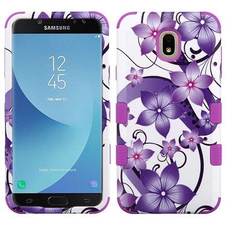 Samsung Galaxy J7 (2018), J737, J7 V 2nd Gen, J7 Refine Phone Case Tuff Hybrid Shockproof Impact Rubber Dual Layer Hard Soft Protective Hard Case Cover Hibiscus Flowers Purple Phone Case ()