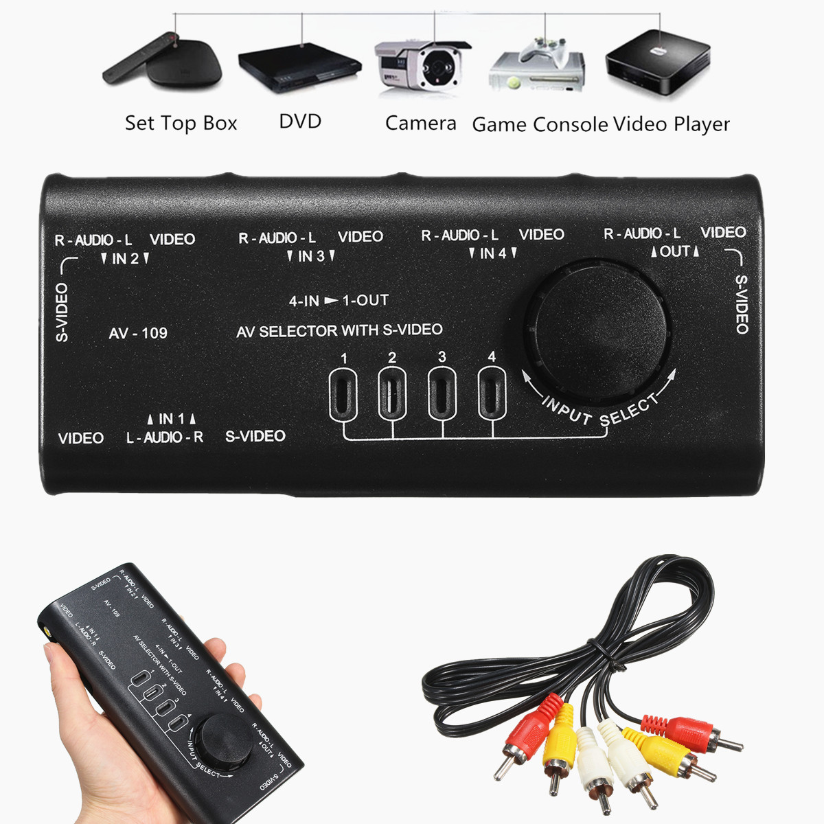 4 in 1 Out AV RCA Switch Box 4Way AV Audio Video SVideo Signal
