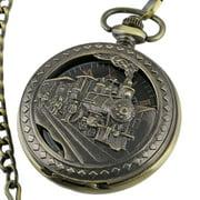 Mens Mechanical Pocket Watch Train Design Black Dial Retro Chain Gift  Golden