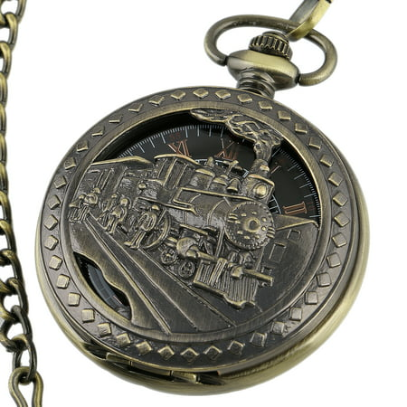 Mens Mechanical Pocket Watch Train Design Black Dial Retro Chain Gift  Golden