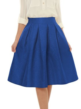 lady red vintage jacquard flared a-line midi skirts xs