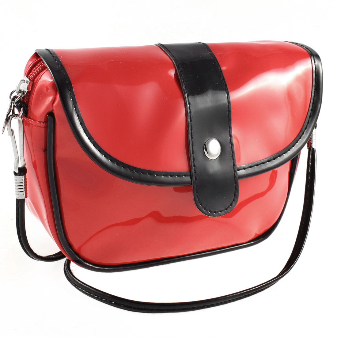 Press Button Dual Cards Pockets Patent Leather Shoulder Bag Satchel Red