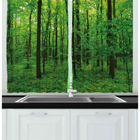 Nature Curtains 2 Panels Set, Green Forest Spring with Trees and Bushes Idyllic Rural Scenery Foliage Fresh Eco Picture, Window Drapes for Living Room Bedroom, 55W X 39L Inches, Green, by Ambesonne