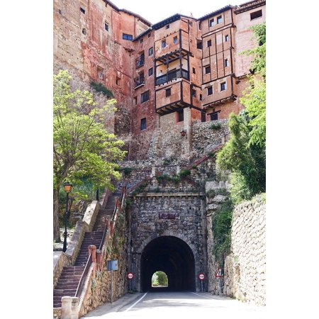 Acrylic Face Mounted Prints Aragon Albarracin Pretty Roadway Tunnel Houses Print 14 x 11. Worry Free Wall Installation - Shadow Mount is Included.