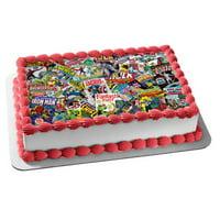 Marvel Comic Books Spider-Man Captain America Hulk Edible Cake Topper Image