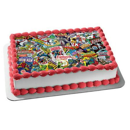 Captain America Cake Ideas (Marvel Comic Books Spider-Man Captain America Hulk Edible Cake Topper)