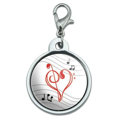 Heart Shape Pet Tag (Treble Bass Clef Heart - Music Small Metal ID Pet Dog Tag )