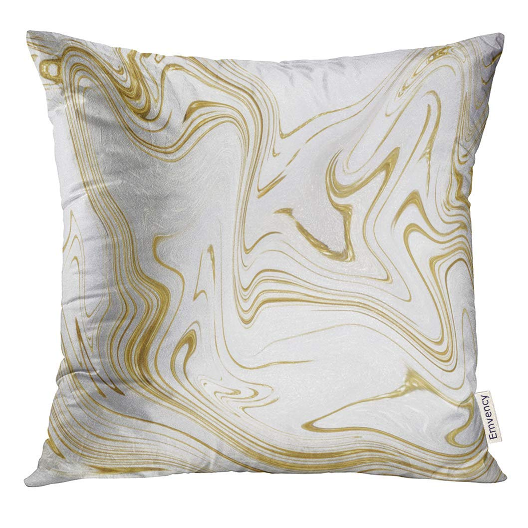 USART White and Gold Marble Marbling Design Abstract Stock Oil Painting Style Watercolor Websites Pillow Case 20x20 Inches Pillowcase