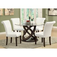 Monarch Olympic Ring Dark Espresso Glass Top Round Dining Table