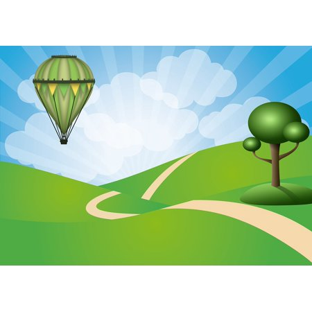 Framed Art For Your Wall Clouds Sun Rays Tree Green Air Fly Balloon 10x13 (Ray Ban Green Frames)