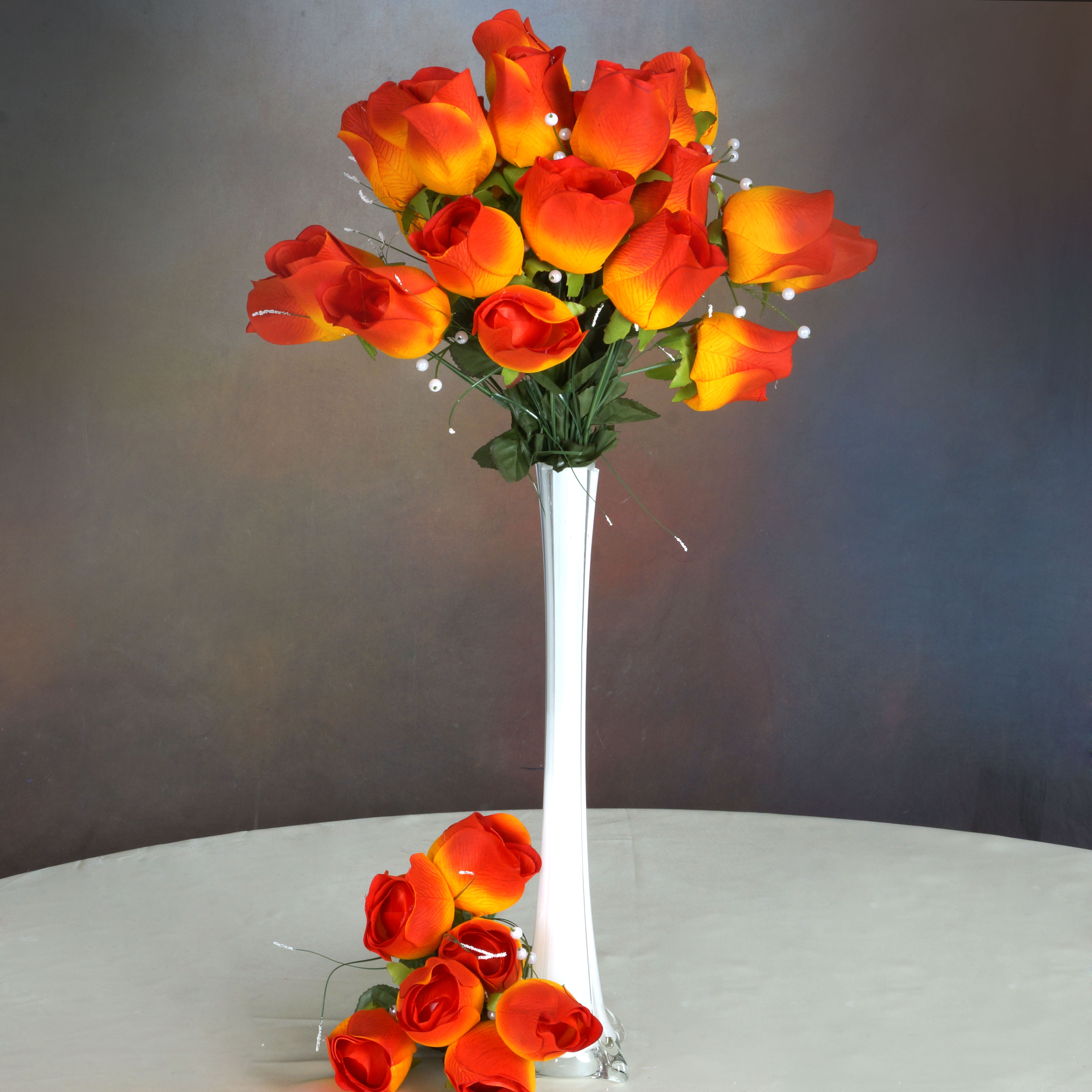 BalsaCircle 42 Giant Velvet Rose Buds on Long Stems - Artificial Flowers DIY Home Wedding Party Bouquets Arrangements Centerpieces