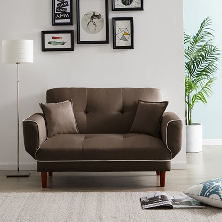 Modern Futon Sofa Bed, Convertible Sleeper Sofa with Armrests and 2 Pillows, Recliner Couch with 4 Solid Wooden Legs, Twin Size Sofa for Living Room Handpicked Fabric (Brown)