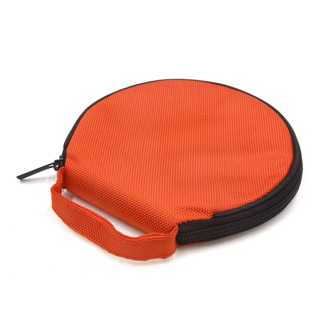 Orange Zipper Closure Round CD Disc Holder Bag Storage Carry Case Wallet for Car - image 1 de 3