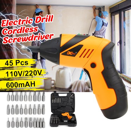 45in1 4.8V Electric Screwdriver Power Tool Screw Gun Cordless Drill Kit with LED Light & + Carry Case For Iron Wood Steel Father