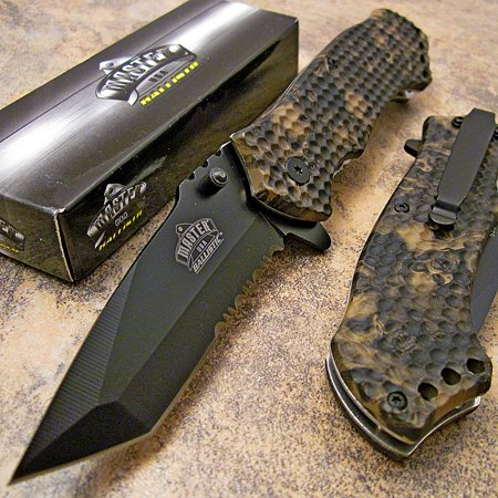 Master Brown Skull CAMO Tanto Spring Assisted Opening Hunting Pocket Knife NEW