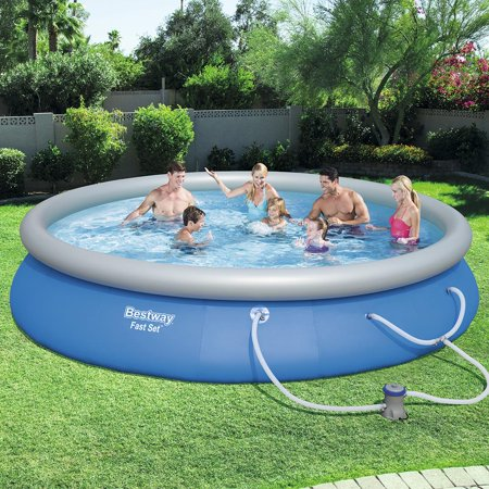 - Bestway Fast Set Swimming Pool Set with 530 GPH Filter Pump, 15' x 33