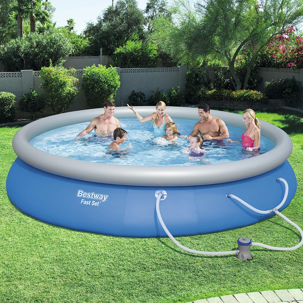 Bestway Fast Set Swimming Pool Set with 530 GPH Filter Pump, 15' x 33""