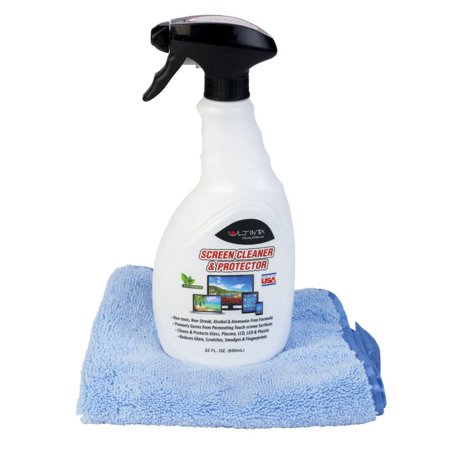 Ultima Screen 22 oz. Cleaner and Antimicrobial Protectant & Microfiber Towel for TV, Computer, LCD