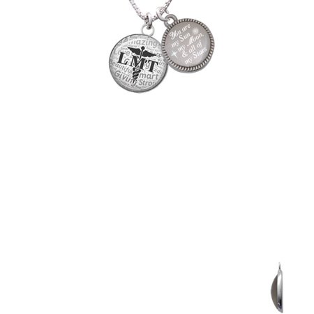 Silvertone Domed Black Lmt You Are My Sun  My Moon  And All Of My Stars Engraved Necklace