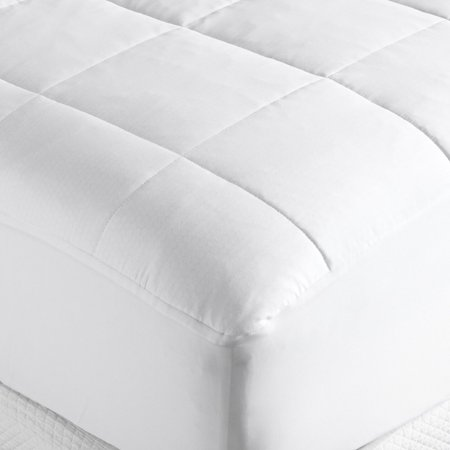 Outlast 350-Thread-Count Sateen Quilted Mattress Pad, White