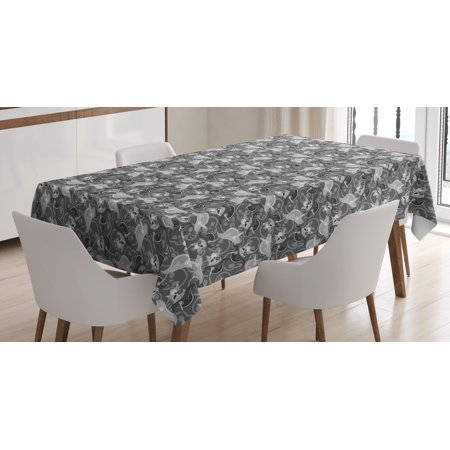 Pirates Tablecloth, Greyscale Pattern Dead Man Skulls with Hat and Eye Patches and Doodle Outlines, Rectangular Table Cover for Dining Room Kitchen, 60 X 84 Inches, Grey Pale Grey, by Ambesonne