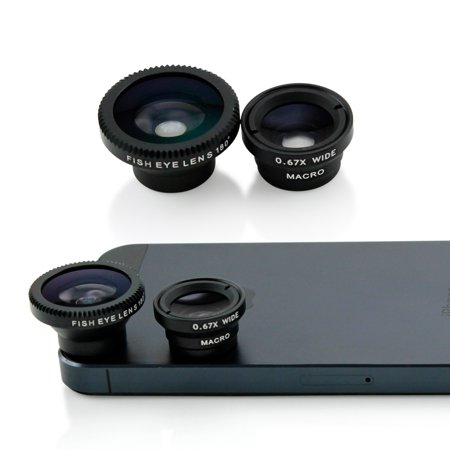 Universal Phone kit Fisheye Fish Eye and Micro Smartphone Camera Mobile Cell Phone Lens - Black