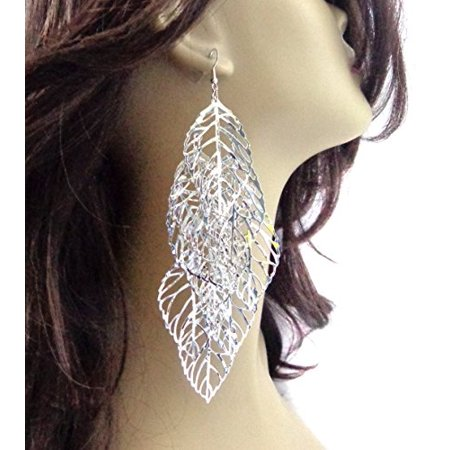 Silver Dangle Leaves Earrings Filigree Leaf 5.5 inch Long (Silver Oak Leaf Earrings)