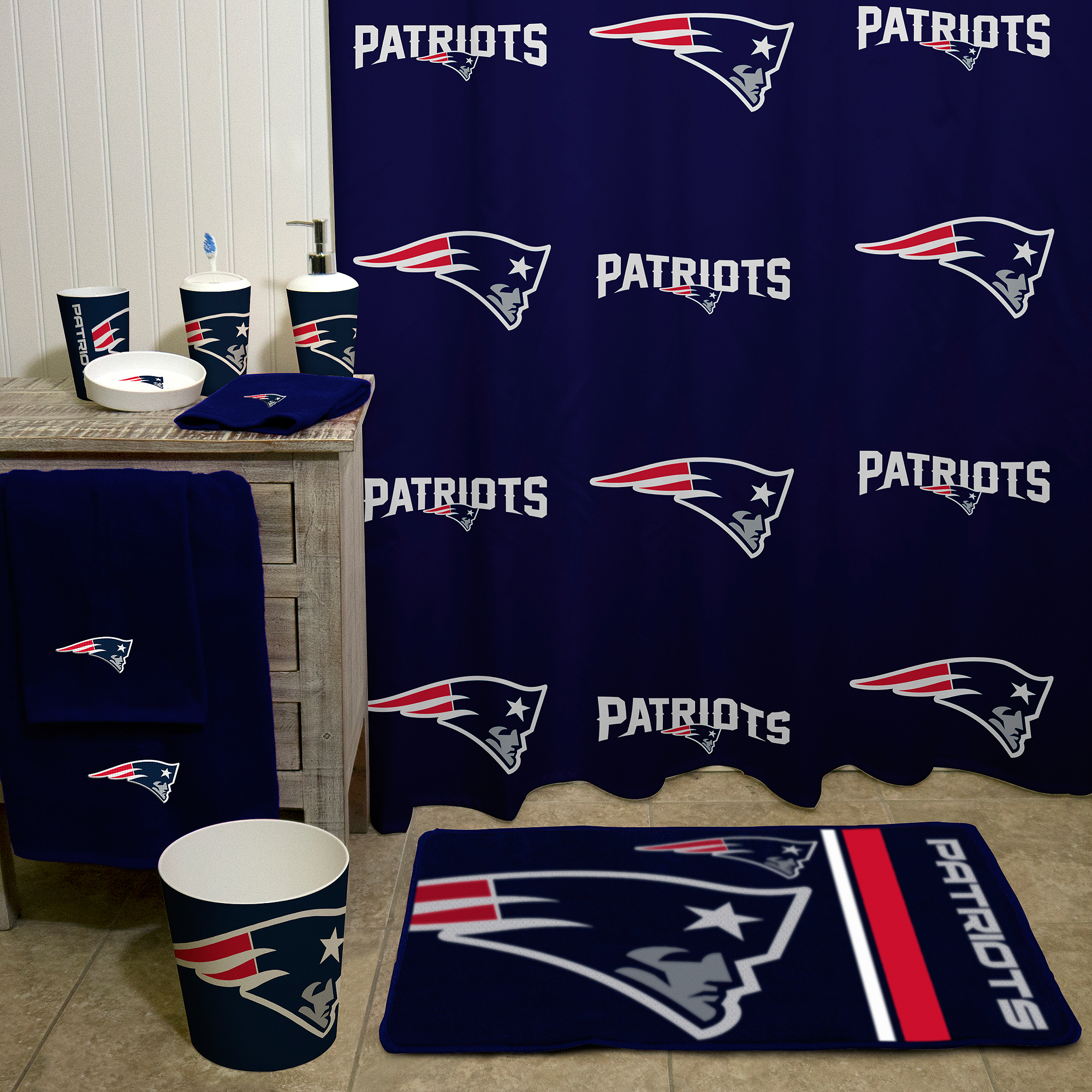 NFL New England Patriots Decorative Bath Collection   Shower Curtain    Walmart.com
