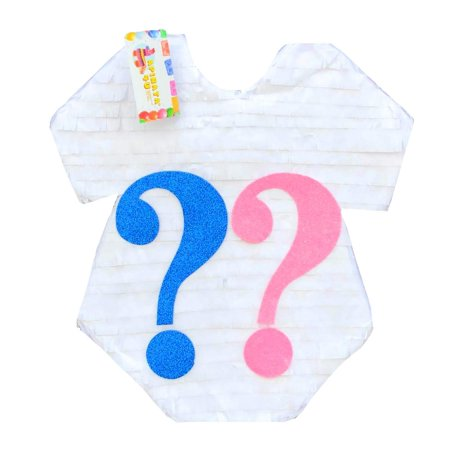 Onesie with Question Mark Gender Reveal Pull-String Pinata, White, Pink, & Blue, 17in x 17in - Baby Reveal Pinata