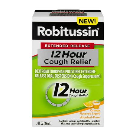 Robitussin  Extended Release 12 Hour Cough Relief Cough Suppressant Liquid In Orange Flavor 3 Fl  Oz  Box