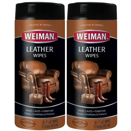 Leather Wipes - 2 Pack - Clean Condition UV Protection Help Prevent Cracking or Fading of Leather Couches, Car Seats, Shoes, Purses, SIMPLE - Leather cleaner is ideal.., By