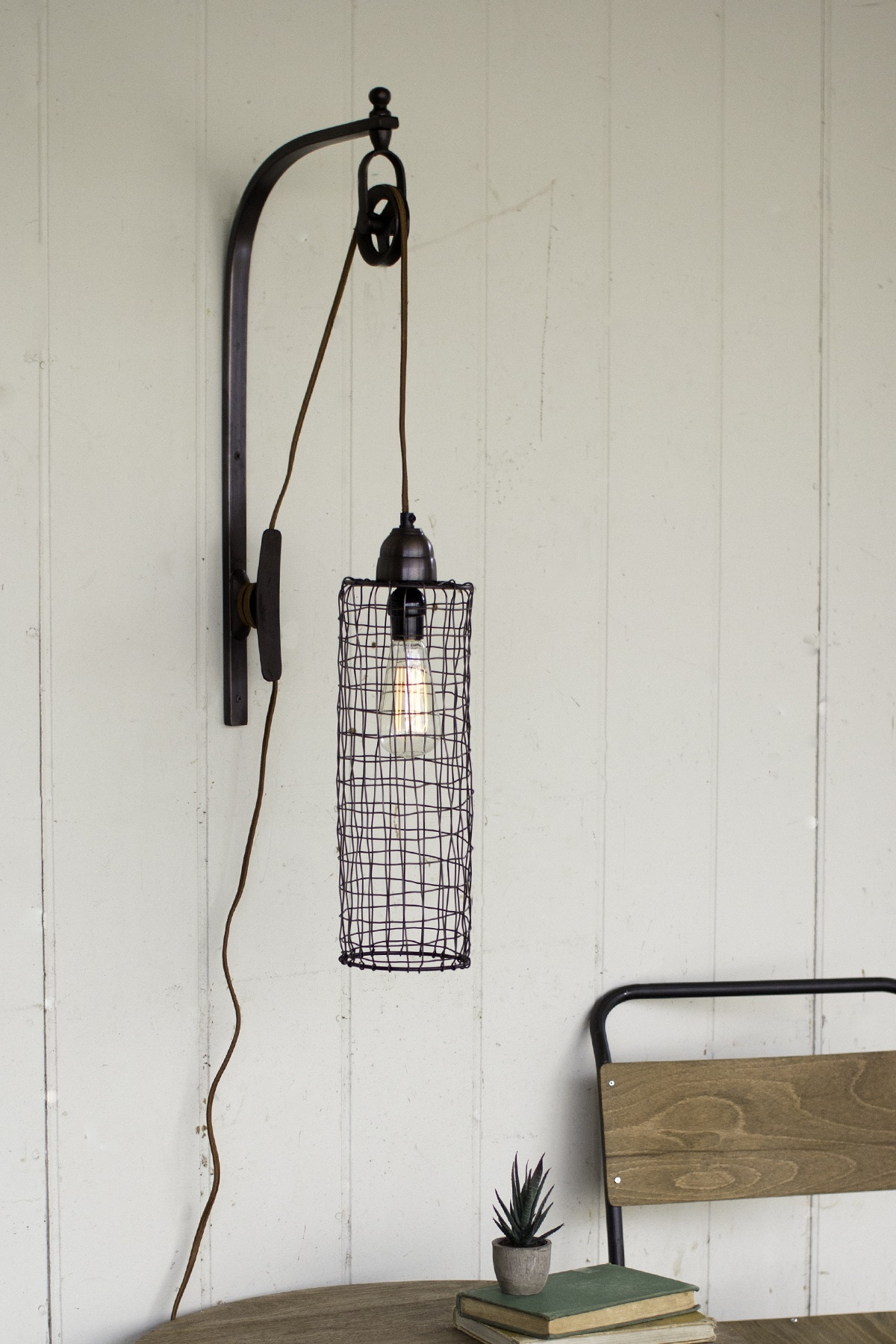 """26"""" Antique Pulley Style Wall Lamp Fixture Sconce with Cylinder Wire Cage Shade by"""