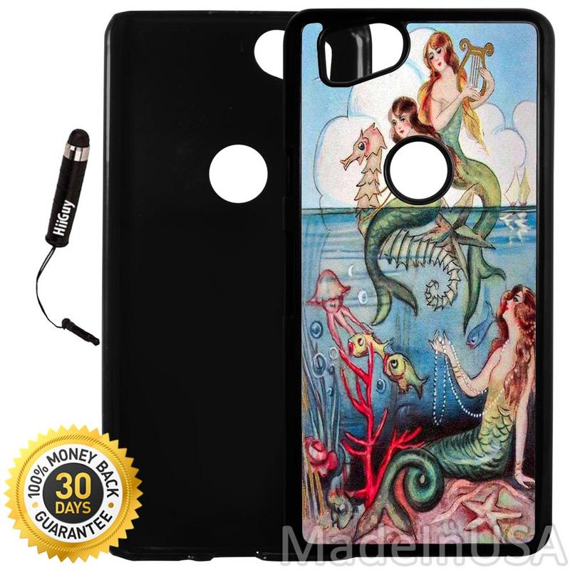 Custom Google Pixel 2 Case (Colorful Vintage Mermaid Illustration) Plastic Black Cover Ultra Slim | Lightweight | Includes Stylus Pen by Innosub